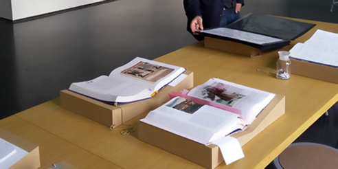 Artists' books on display in an exhibition