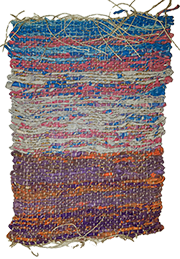 Hand-made weaving in  blue, off-white, purple and orange colors, by Melissa Hilliard Potter